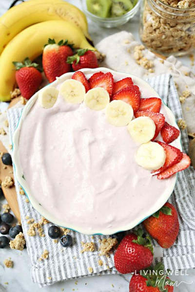 yogurt bowl with strawberries, bananas
