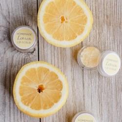 homemade lemon lip scrub with essential oils