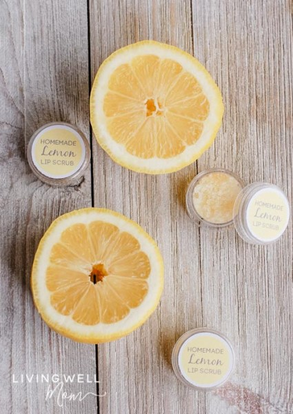homemade lemon lip scrub with essential oils