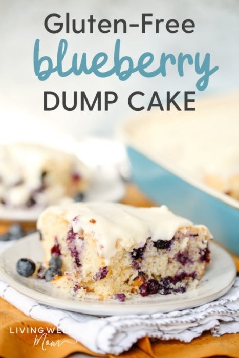 gluten-free blueberry dump cake with cream cheese icing