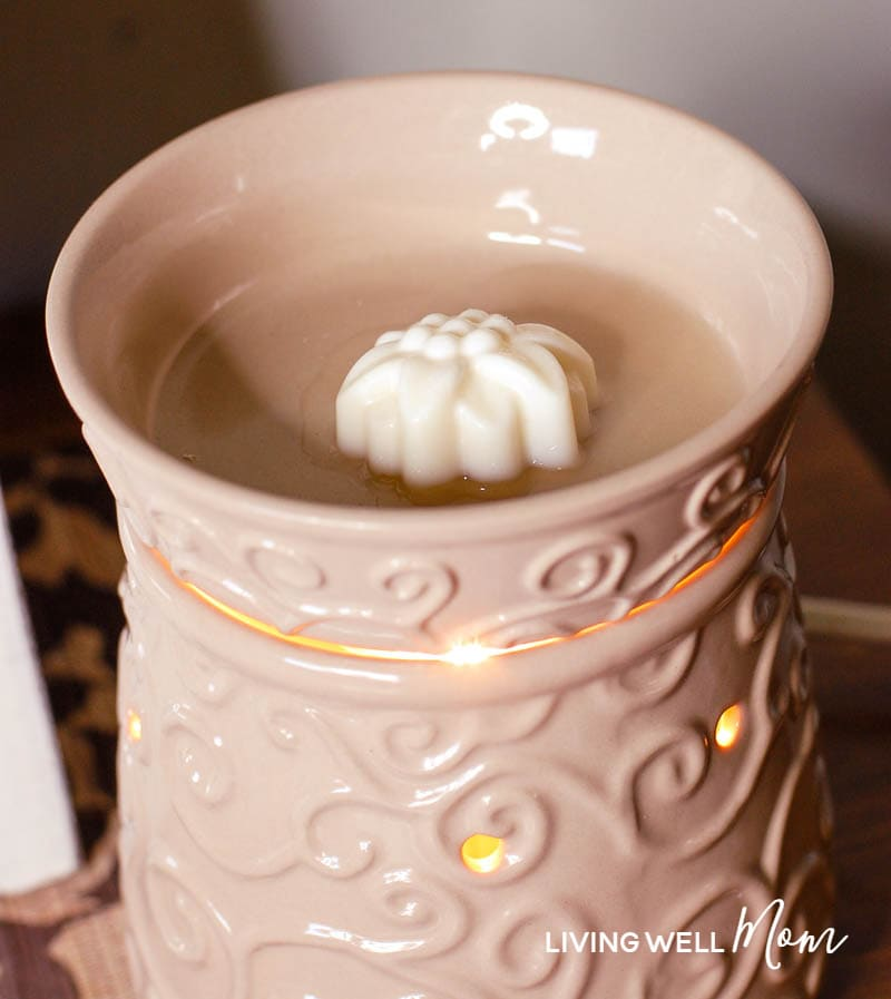 diy wax melts in a wax warmer - just starting to melt