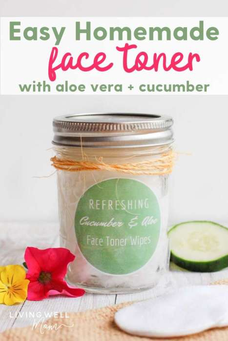 easy homemade face toner with aloe and cucumber