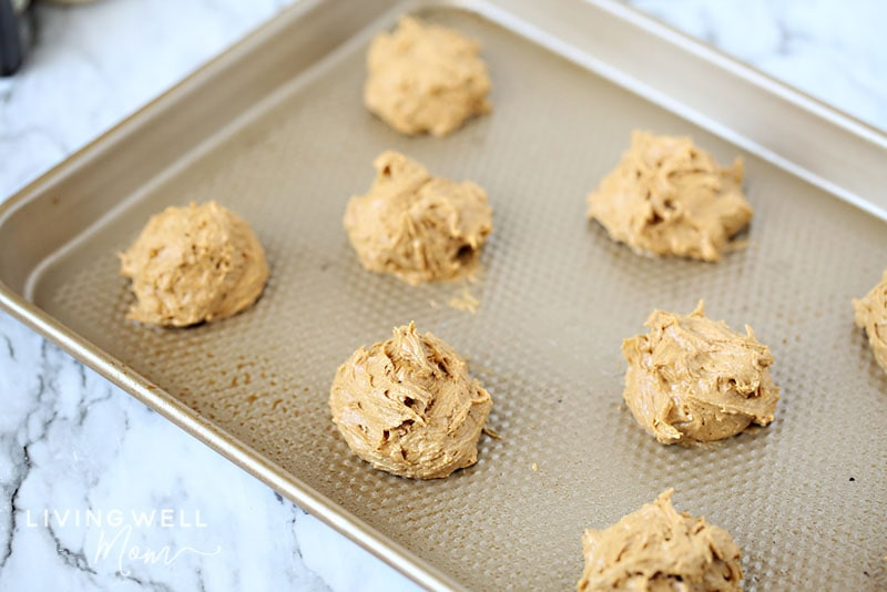 ginger cookie dough on cookie sheet unbaked