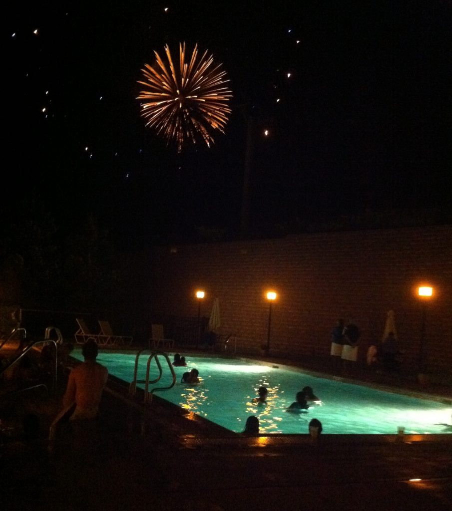 fireworks from the pool, Photo credit: Jessica Keenan Smith