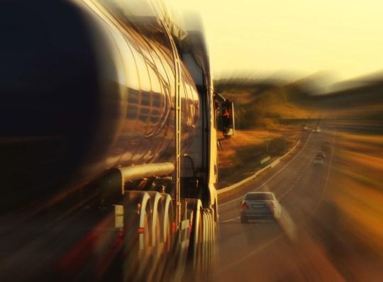 oil trucks on the road