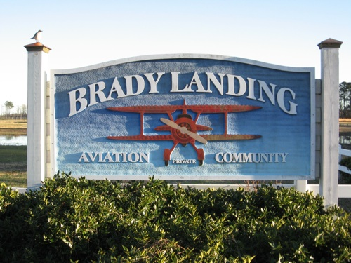 Brady Landing Aviation Community signage
