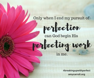 Only when I end my pursuit of perfection can God begin His perfecting work in me.[5]
