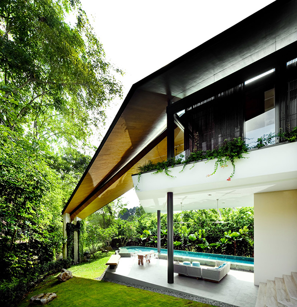 Modern Trapezium House Design 1 Modern Trapezium House Inspired by Traditional Malay Architecture