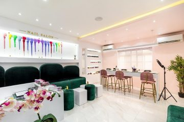 Nailicure nail salon by Ocubed Designs features a high contrast interior colour scheme