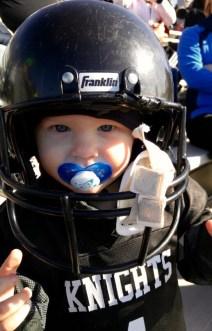 Rex trying on a helmet!