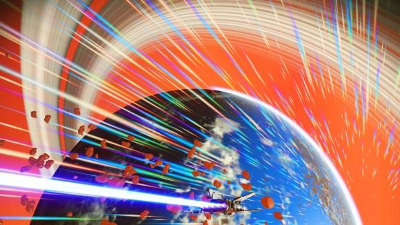 """Captura de tela do video game """"No Man's Sky"""". Uma nave voa pelo espaço laranja em direção a um planeta parecido com a Terra."""