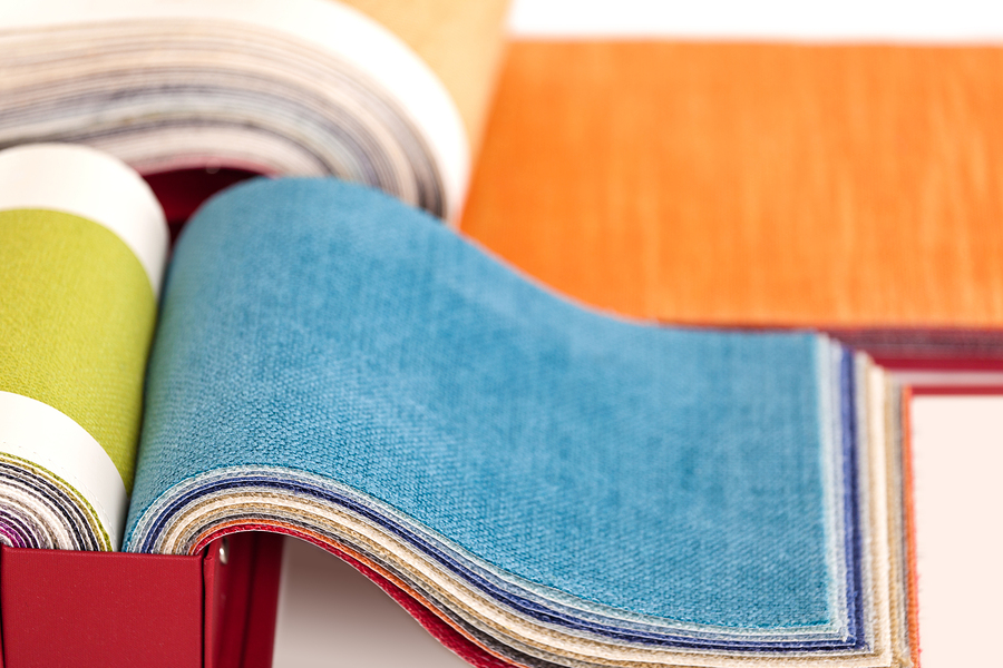 Upholstery fabric samples on a white background ** Note: Shallow depth of field