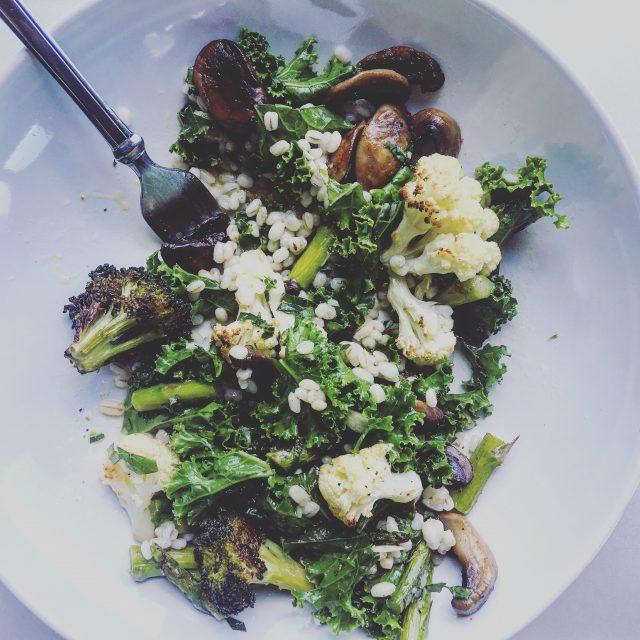 Kale Salad with Roasted Cauliflower and Broccoli