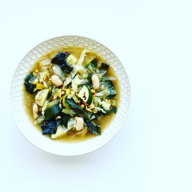 Spiced Green Cabbage and Kamut Soup