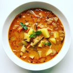 Thai Coconut Curry Soup with Chickpeas and Potatoes
