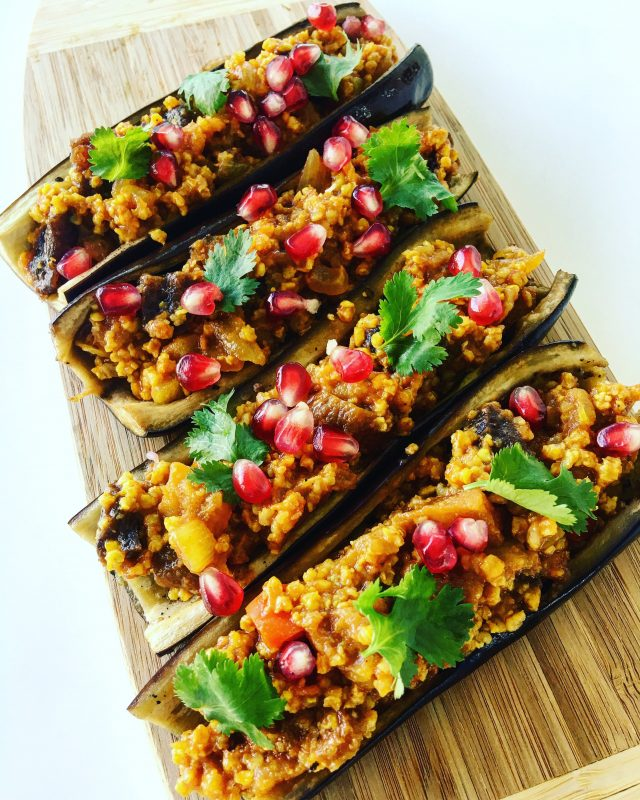 Armenian-Spiced Stuffed Eggplants with Millet and Dried Apricots