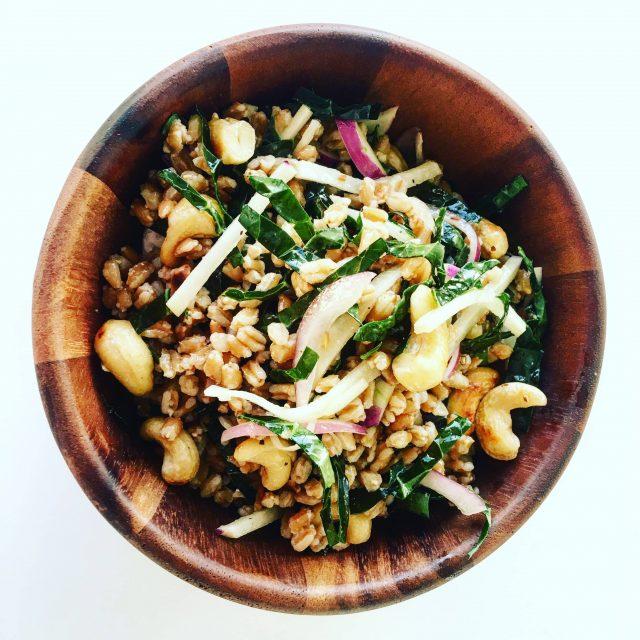 Farro, Kale, and Kohlrabi Salad with Dijon-Garlic Vinaigrette
