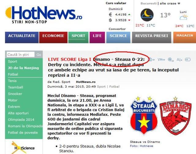 Dinamo-Steaua 0-22