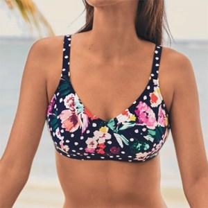 Flower Power bikinitop med lomme