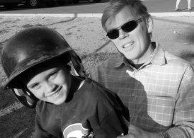 Ryder with Papa at baseball game
