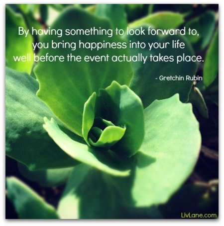 By having something to look forward to, you bring happiness into your life before the event actually takes place. - Gretchen Rubin #inspiration