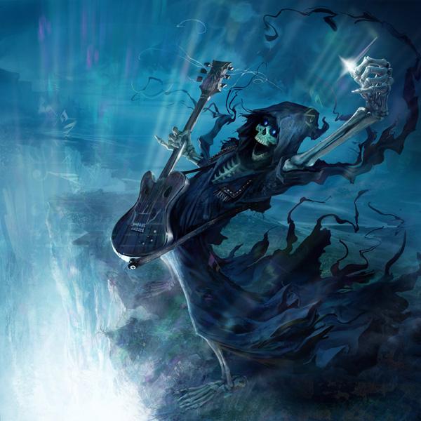 """Illustration de la Mort et sa guitare par Marc Simonetti en référence au livre """"Accros du roc"""" de Terry Pratchett"""