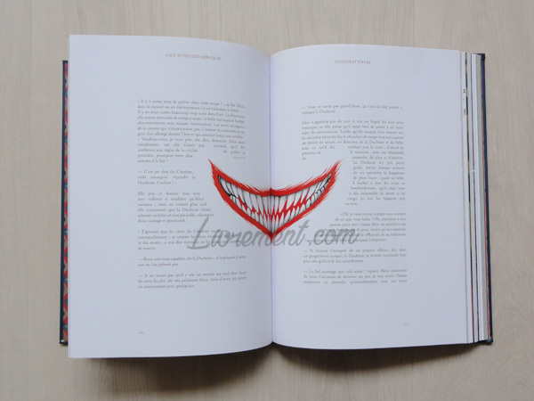 Sourire du Chat de Cheshire dans le livre Alice au pays des merveilles de Benjamin Lacombe