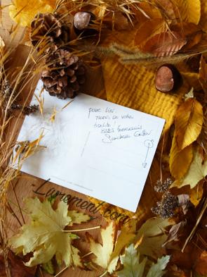 Dédicace de la carte postale La clef de Nimüe par Sandrine Gestin