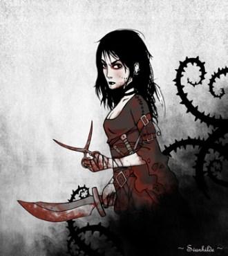 Illustration de Grimalkin tachée de sang et portant ses ciseaux