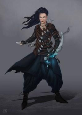 Illustration en pied de Grimalkin, la sorcière tueuse imaginée par Joseph Delaney pour sa série littéraire L'apprenti épouvanteur