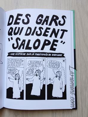 Livre I'm every woman de Liv Strömquist : page des gars qui disent salope