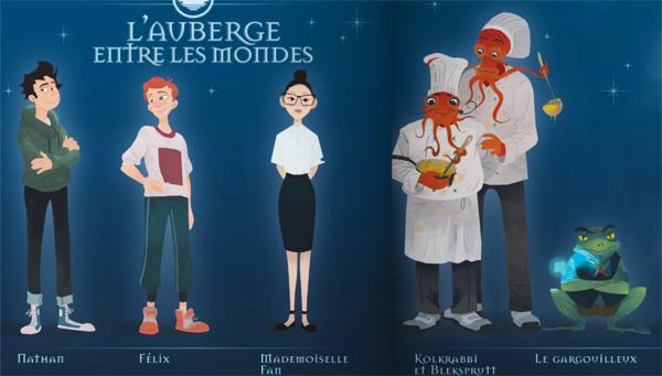 """Galerie des personnages du livre """"L'auberge entre les mondes"""" de Jean-Luc Marcastel : Nathan, Félix, Mademoielle Fan, Kolkrabii et Bleksprutt, le Gargouilleux"""