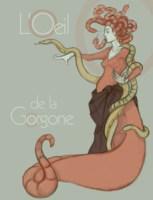 Illustration aux couleurs passées, représentant une gorgone