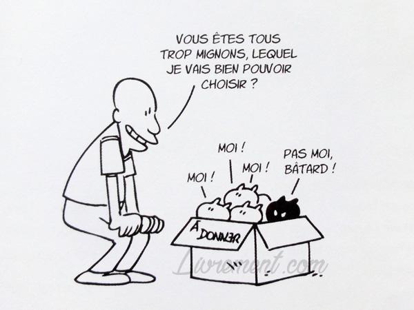 Putain de chat de Lapuss : dessin où l'humain adopte Moustique