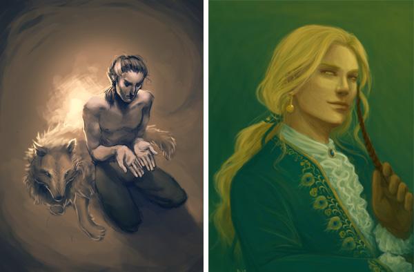Le prophète blanc de Robin Hobb, fan art avec Fitz à gauche et Le Fou à droite