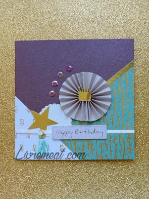 Carte d'anniversaire scrapée violet, doré et bleu turquoise