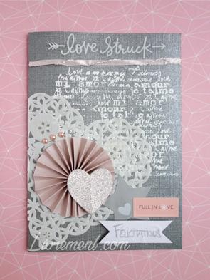 Carte scrapée de félicitation mariage en gris et rose