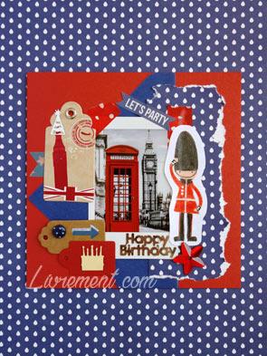 Carte scrapée Londres pour l'anniversaire d'une copine