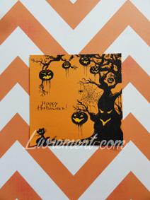 Carte desinée sur le thème d'Halloween avec des ombres de citrouilles