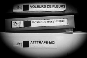 Photo de cartons de jeux aux titres imprimés en braille
