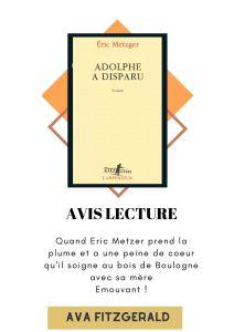 Eric Metzer- Adolphe a disparu -Blog littéraire
