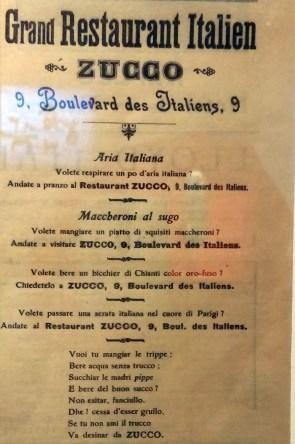 Publicité pour le restaurant italien Zucco, 7 juin 1908.