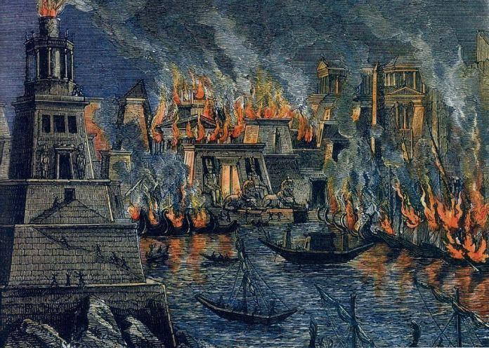 Incendie Alexandrie by Hermann Goll - 1876