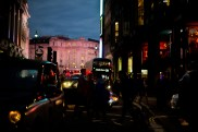 Piccadilly, London, all lit up.