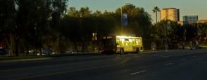 An early morning Metro bus in LA.