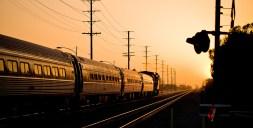 A commuter train in Burbank, California, near Burbank Airport.