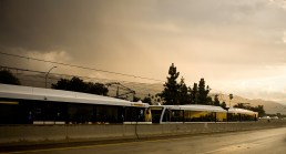 An early morning train ride along the 210 Freeway.
