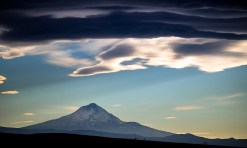 The sky was, indeed, amazing all the rest of the afternoon and I shot many 65 mph images from the car of Mount Hood, with Casper doing the driving.