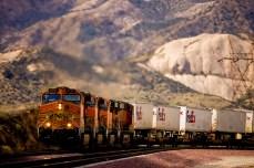A BNSF train climbing a steep grade, east of Los Angeles.