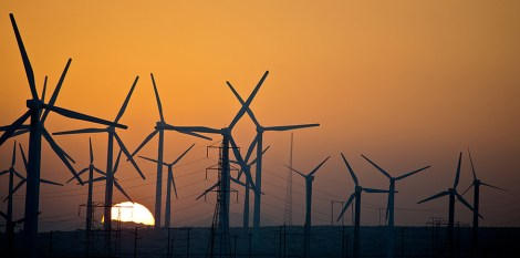 Sundown on one of the myriad wind farms in the California desert.